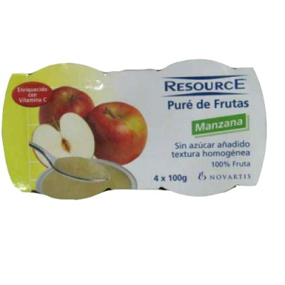 RESOURCE PURE DE FRUTAS 100 G 4 TARRINAS MANZANA